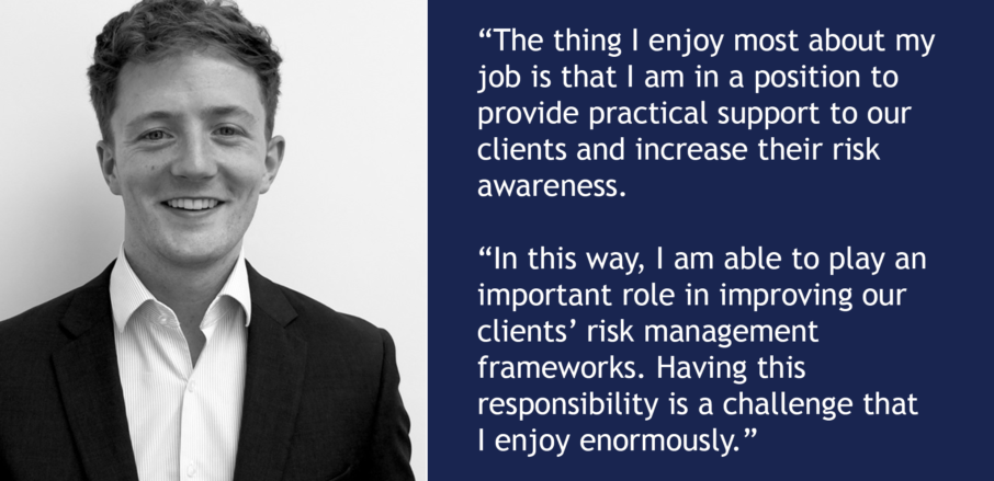 Image of Connor Munro with quote from article - Veritau feature in Insitute of Risk Management