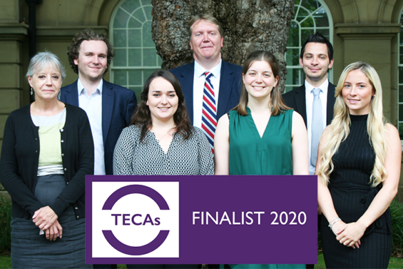 Image of fraud team and TECA Logo - Finalist 2020 - Veritau fraud team nominated for award