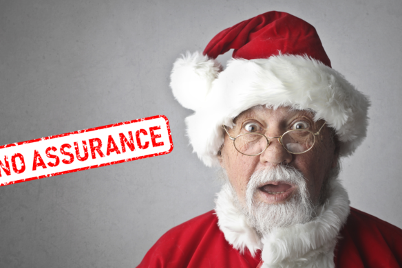 "Image of Santa with ""no assurance"" stamp - auditing Santa, Veritau"