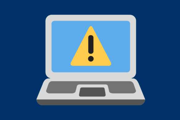 Graphic of laptop with warning sign - Coronavirus scams fraud alert